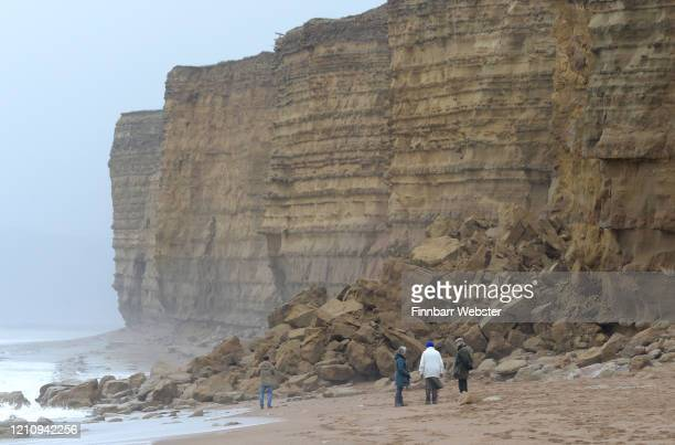 Fresh cliff fall at Burton Bradstock caused by coastal erosion of the cliff face on March 07, 2020 in Burton Bradstock, England. The cliffs are part...