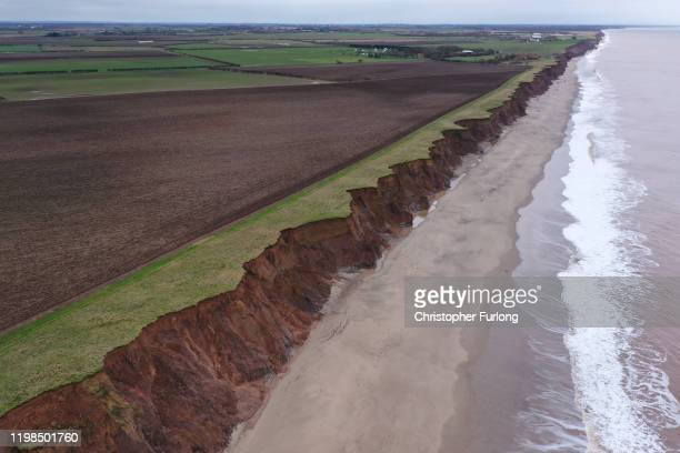 Fresh cliff falls show the devastation caused by coastal erosion of the cliff face in the village of Aldbrough in the East Riding of Yorkshire on...