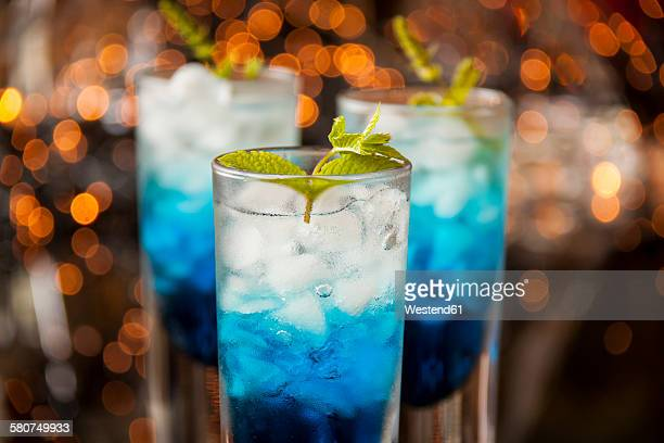 Fresh cocktail with blue curacao liquer