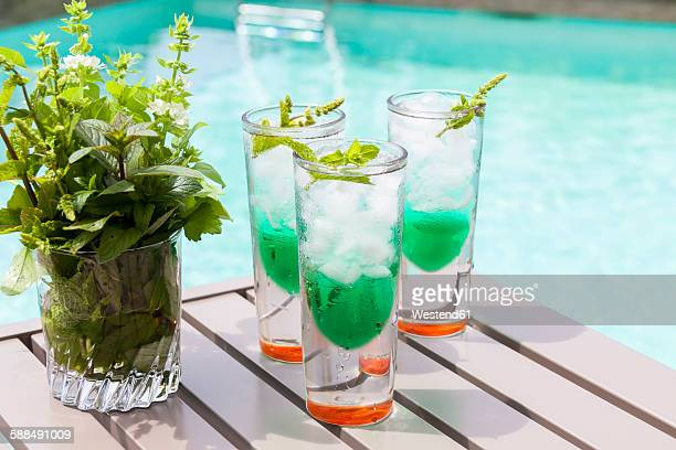 Fresh cocktail with mint liquer