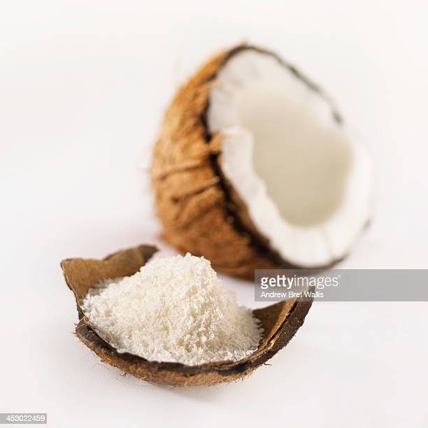 Fresh coconut in the shell and ground coconut
