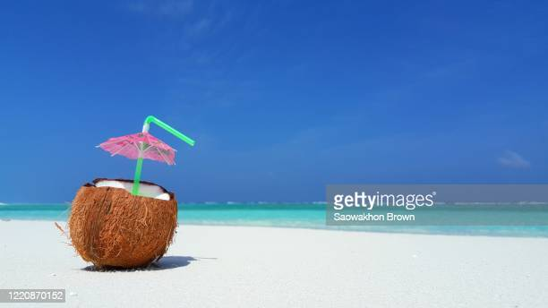 fresh coconut juice on white sand with blue water and clear blue sky in the background - close-up shot - coconut water stock pictures, royalty-free photos & images