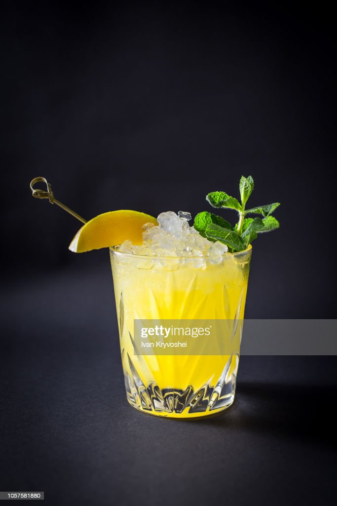 Fresh coctail drink on black background : Stock Photo