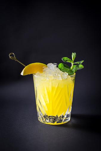 Fresh coctail drink on black background - gettyimageskorea
