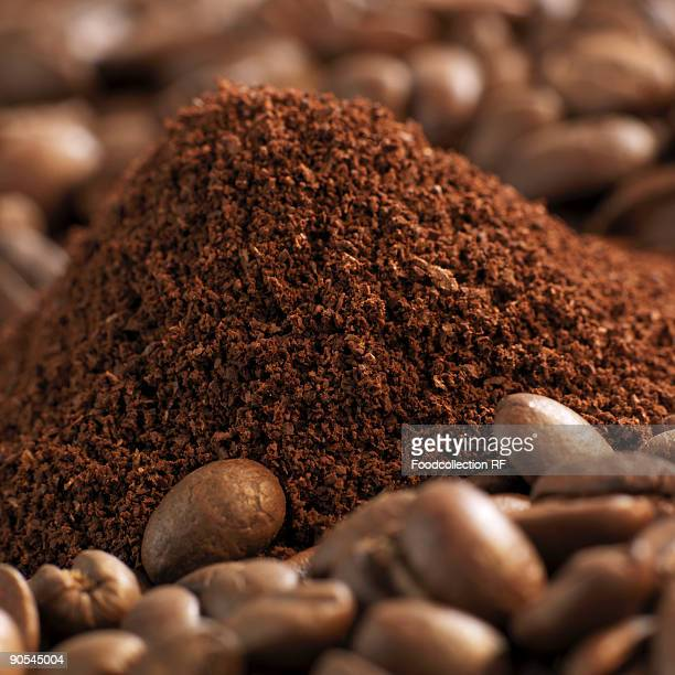 Fresh coffee powder with coffee beans, close up