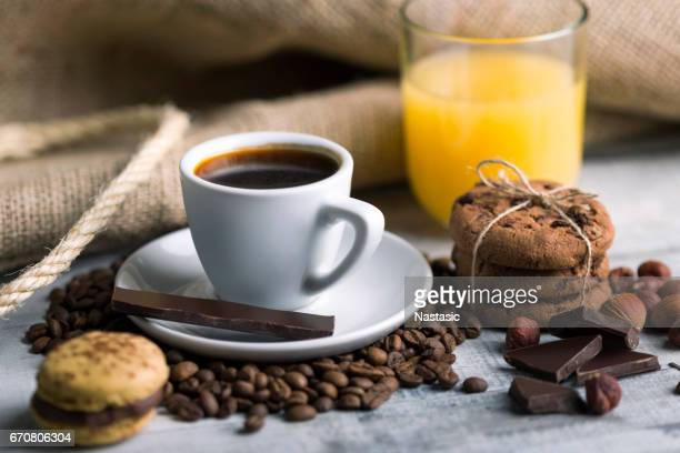 Fresh coffee with cookies