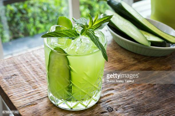 fresh cold drink with cucumbers and mint