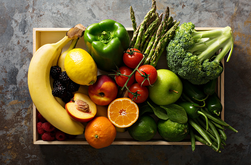 Fresh colorful vegetables and fruits 641809790