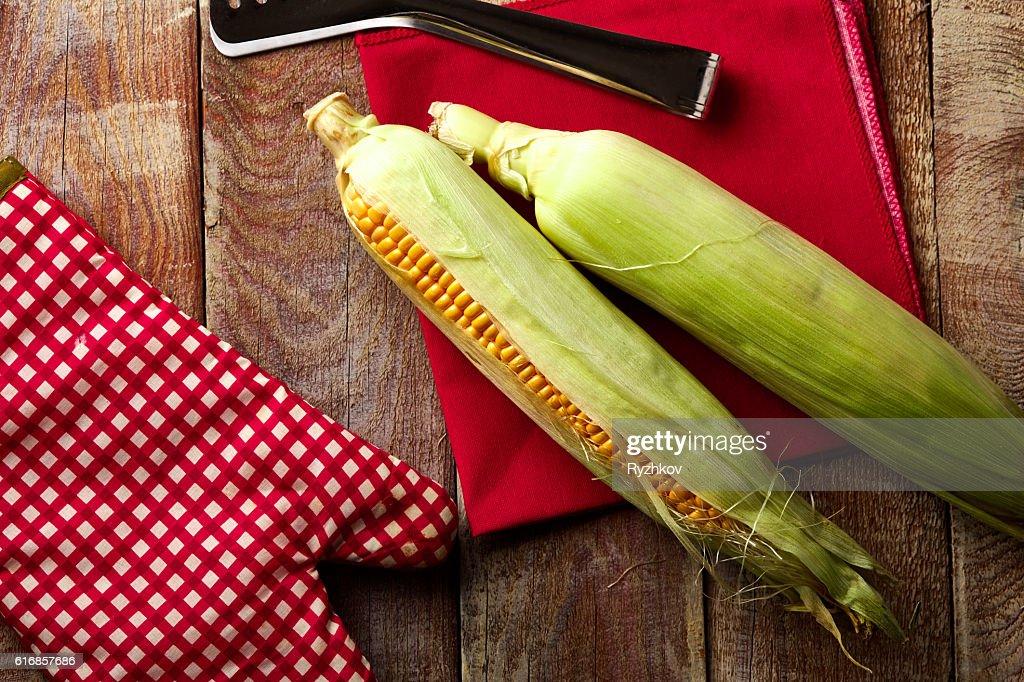 Fresh Corn on Wooden Table : Stock Photo