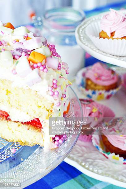 fresh cream party cake and cup cakes - gregoria gregoriou crowe fine art and creative photography stock pictures, royalty-free photos & images