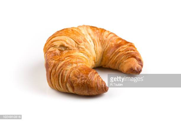 fresh croissant isolated on the white background - semicírculo - fotografias e filmes do acervo