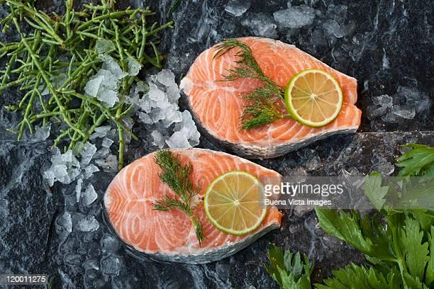 Fresh cuts of salmon
