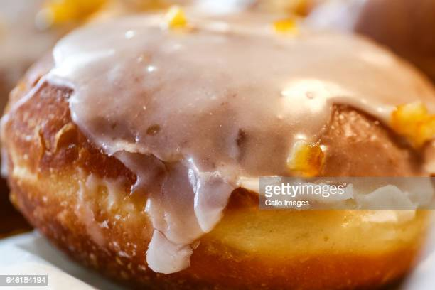 Fresh donut seen during Fat Thursday on February 23 in Warsaw Poland Fat Thursday is a traditional Catholic Christian feast associated with the end...
