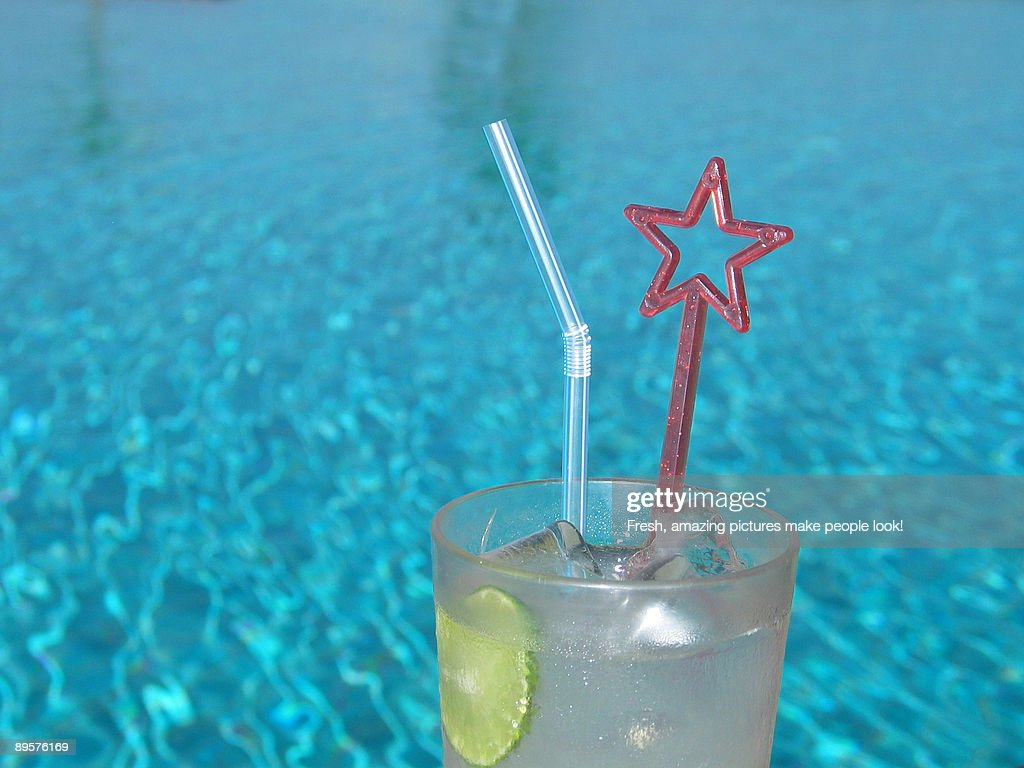 A Fresh Drink by the Pool : Stock Photo