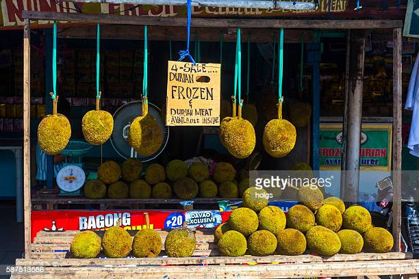 fresh durian in davao, philippines - davao city stock photos and pictures