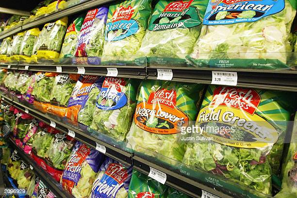 Fresh Express & Ready Pak Pre-Packaged salad sits on the shelf at a Bell Market grocery store June 19, 2003 in San Francisco, California. Packaged...