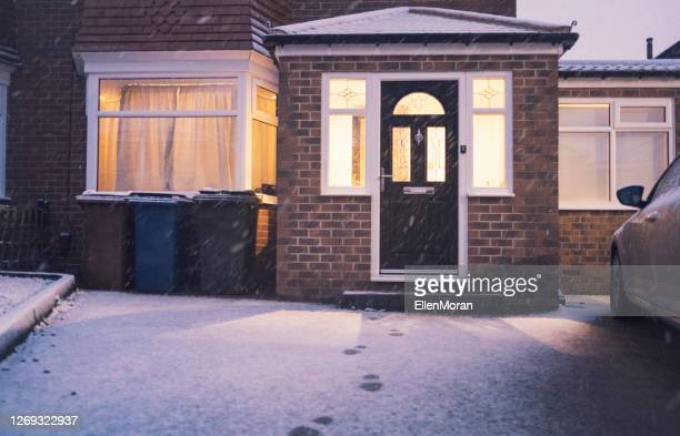 fresh fallen snow - building exterior stock pictures, royalty-free photos & images