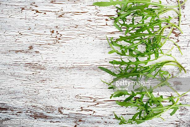 Fresh farm arugula on a white wooden background with copy space, overhead view