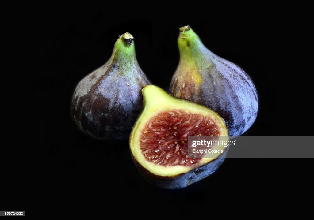 Fresh figs on black background : Stock Photo