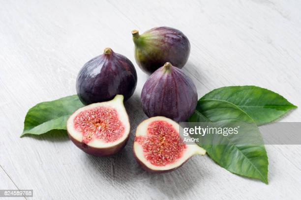 Fresh Figs With Green Leaf Isolated