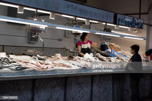 fresh fish market in spain - castellon de la plana stock photos and pictures