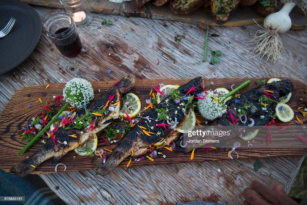Fresh fish on a cedar plank : Stock Photo