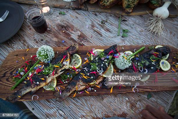 Fresh fish on a cedar plank