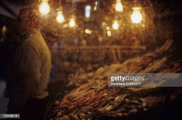 Fresh fishes in a market of kadikoy on the Asian shore of Istanbul Turkey