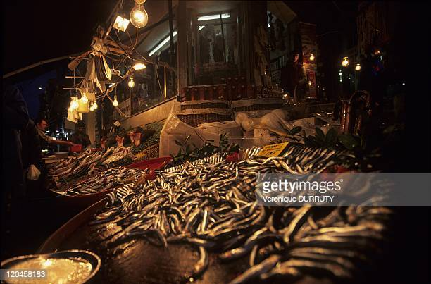 Fresh fishes in a night market of kadikoy on the Asian shore of Istanbul Turkey