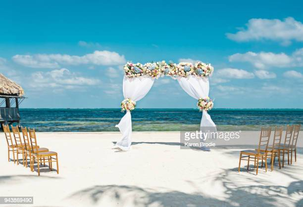 fresh flower arbor on the beach with eight chairs for a small beach wedding - wedding ceremony stock pictures, royalty-free photos & images