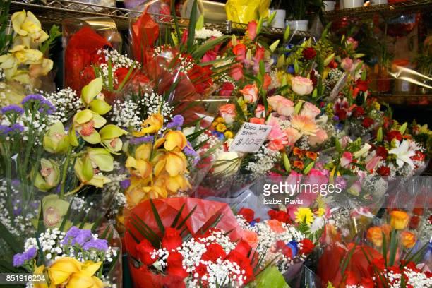 Fresh flowers outside flower shop