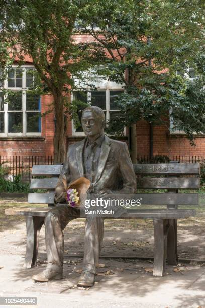 Fresh flowers rest at the Alan Turing Memorial in Sackville Park along Fairfield Street on the 10th August 2018 in Manchester in the United Kingdom...