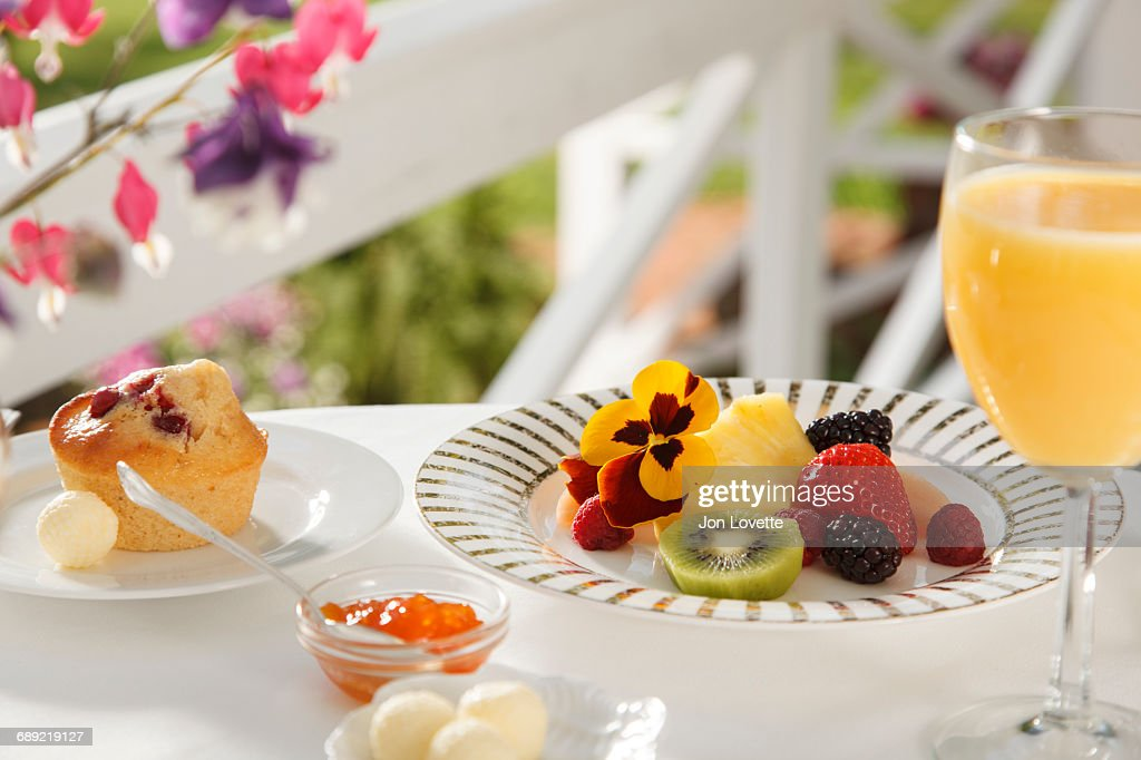 Fresh Fruit and Muffin Breakfast : Stock Photo