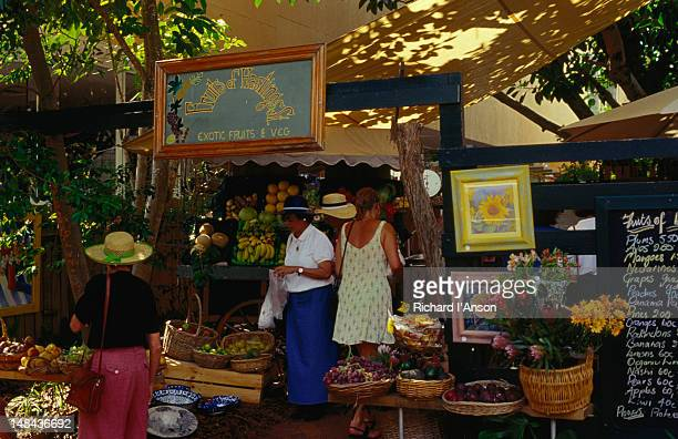 Fresh fruit and vegetable market on Hastings Street in Noosa.