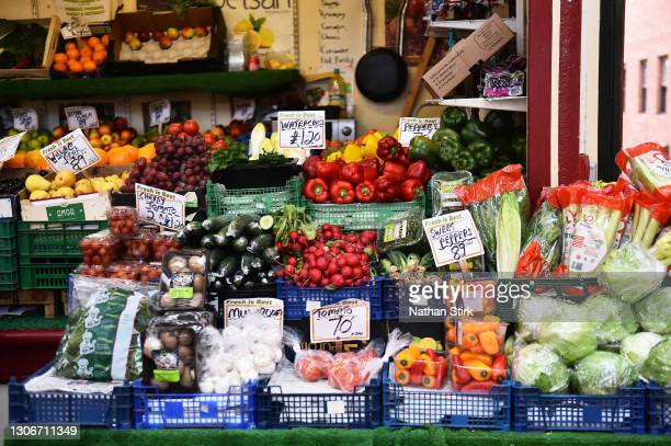 Fresh Fruit and Vegetables are left on a stall to sell at Stockport Market on March 12, 2021 in Stockport, England.