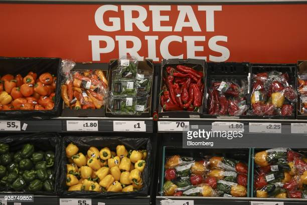 Fresh fruit and vegetables sit in crates on display inside a J Sainsbury Plc supermarket in Redhill UK on Tuesday March 27 2018 Mike Coupe J...