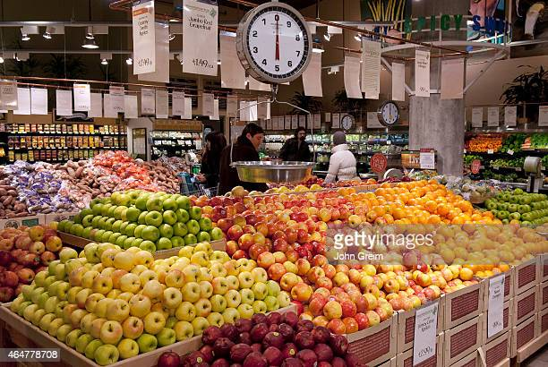 Fresh fruit displayed in a Whole Foods supermarket