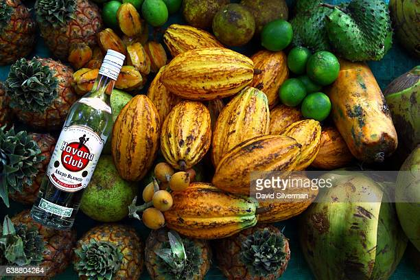 Fresh fruit fills a table where a local man makes rum cocktails for US$2 each on December 21 2015 at Soroa Cuba Sugar is said to have been brought to...