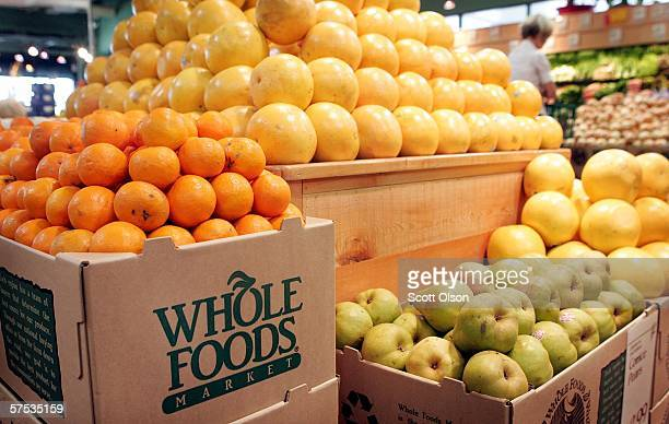 Fresh fruit is displayed at a Whole Foods store on May 4 2006 in Chicago Illinois Texasbased natural and organic foods retailer Whole Foods Market...