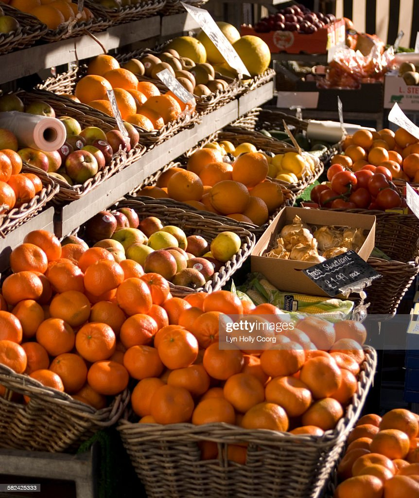 Fresh fruit on market stall : Stock Photo