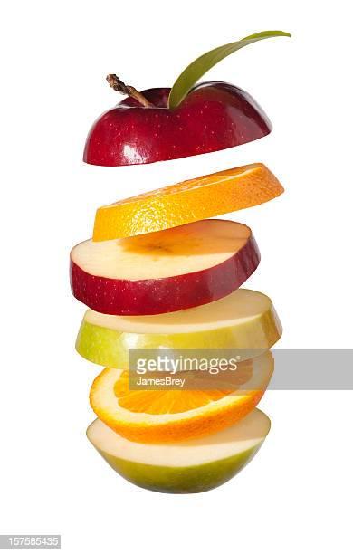 Fresh Fruit Slices; Apples and Oranges on White Background