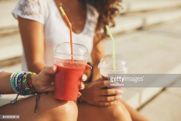 fresh fruit smoothie - juice drink stock photos and pictures