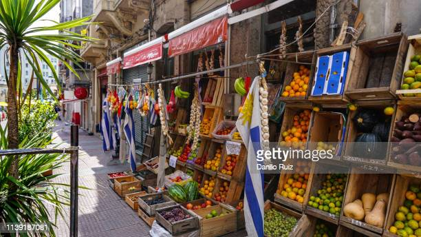 fresh fruit stand on the streets of montevideo, uruguay - montevideo stock pictures, royalty-free photos & images