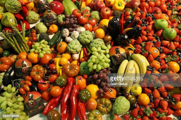 Fresh fruits and vegetables lie on display at a Spanish producer's stand at the Fruit Logistica agricultural trade fair on February 8, 2017 in...