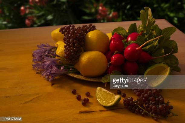 fresh fruits and vegetables still life on table in outdoor setting - calabasas stock pictures, royalty-free photos & images