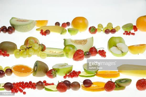 Fresh fruits in a row
