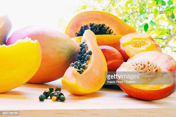 fresh fruits - papaya stock photos and pictures