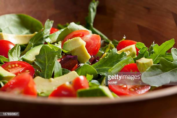 fresh garden salad with avocado - green salad stock pictures, royalty-free photos & images