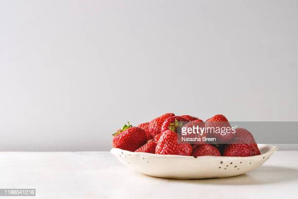 fresh garden strawberries - strawberry stock pictures, royalty-free photos & images