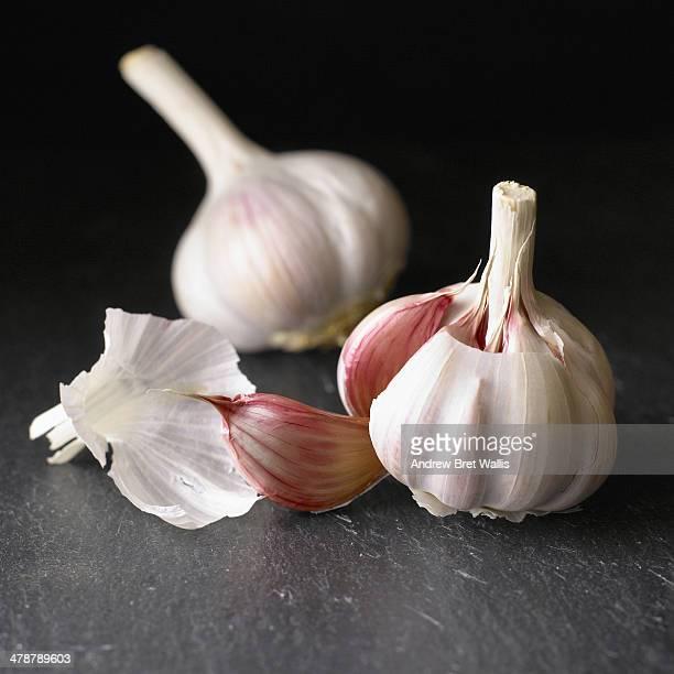 fresh garlic bulbs against dark slate - cabeza de ajos fotografías e imágenes de stock